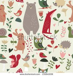 Seamless forest animals background with cute hare, owl, hedgehog, bear, squirrel, fox, snail, birds, mushrooms and flowers in cartoon style