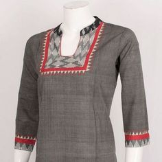 Buy online Handcrafted Cotton Kurta With Collar Neck & Embroidery 10027472 - XL Salwar Neck Designs, Neck Designs For Suits, Kurta Neck Design, Dress Neck Designs, Kurta Designs Women, Churidar Neck Designs, Blouse Designs, Trendy Kurti, Simple Kurti Designs