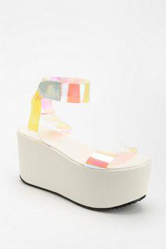 UNIF Spacer Hologram Platform Sandal #urbanoutfitters