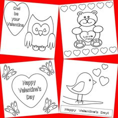 Free printable Valentine's Day cards to colour in - made by me! http://www.kids-craft-ideas.com/freeprintables.html