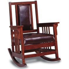 Lowest price online on all Coaster Mission Style Wood Rocker with Leather Match Seat and Back - 600058