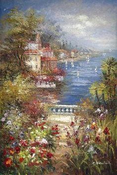 Mediterranean scene oil painting (0483-M-0325-3B) - China handmade oil painting supplier, fuyifa