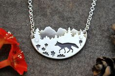 Fox in the Mountains Silver Mountain Landscape by GatherAndFlow