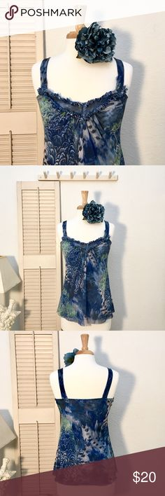 """Sweet Pea Stretch Mesh Tank with Muted Print❤ 100% nylon. Stretch mesh. Fitted at chest and falls away at waist/hips. Colors: warm royal blue, indigo, moss green, and gray. Animal/feather/floral Muted print. Double gathered ruffle at V-neck. Wide 1""""+ wide straps. Cute and comfy style. This item is used and in good condition.❤ Sweet Pea Tops Tank Tops"""