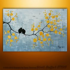Abstract Landscape Tree Birds Painting Textured Modern Palette Knife Impasto Art by Gabriela 36x24. $189.00, via Etsy.