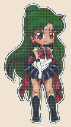 Chibi Sailor Pluto pdf cross stitch by PDFanimeCrossStitch
