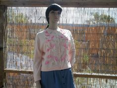 Vintage 1950s 60s Baby Pink Soft Sequin by VBombVintage on Etsy, $48.00