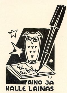 OWL & Pen, Ex libris Bookplate by Peter Somme, Estonia