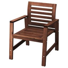 ÄPPLARÖ Bench w/panel and shelves, outdoor, brown stained brown - IKEA Outdoor Dining Furniture, Outdoor Chairs, Outdoor Armchair, Outdoor Wooden Benches, Wooden Furniture, Adirondack Chairs, Chair Pads, Chair Cushions, Teak