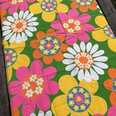 """e6441f0e85 Details about Vintage 60s 70s MOD FLOWER POWER Fabric Pink Bright Neon 42""""  X 59"""""""