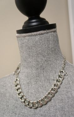 Chunky Silver Link Necklace  Asymetrical Design with by Links & Locks, $25.00