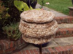 A very warm hat consisting of Kent fleece and Alpaca home spun yarn.