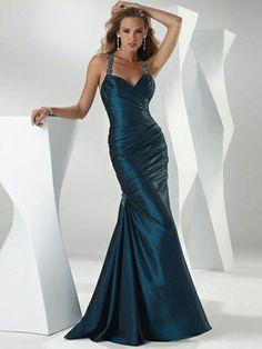 Trumpet/Mermaid Halter Taffeta Floor-length Crystal Detailing Formal Evening Dresses at Msdressy