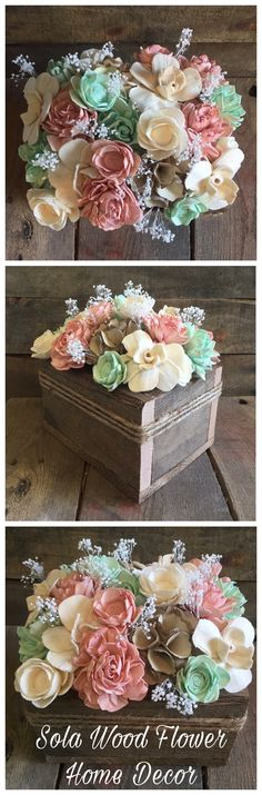 Beautiful mint, pink and brown dyed Sola Wood Flowers. Sola Wood Flowers, Wooden Flowers, Giant Paper Flowers, Metal Flowers, Diy Flowers, Fabric Flowers, Bridal Decorations, Flower Decorations, Flower Centerpieces