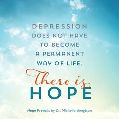 Depression does not have to become a permanent way of life. There is HOPE. Do you or a friend or family member struggle with depression or a prolonged case of the blues? Are you looking for freedom? I've been there. I'm a board-certified neuropsychologist who experienced debilitating depression. On the other side, I can say that even though someone may seem hostage to depression, it never has to be the final destination. Find out more. Mental Health.