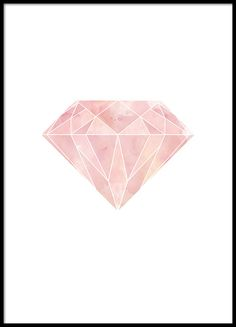 Print with a pink diamond.