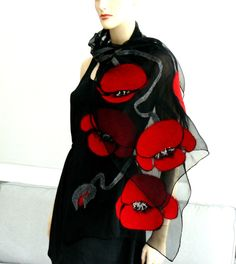 Nuno Felted Scarf merino wool silk floral Nuno felting shawl  Red flowers