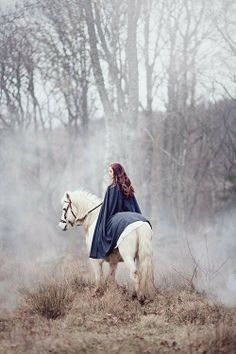 Rhiannon rode a white horse through the mists that was impossible to catch up with, except for one man. (Read more about it for yourself in the Mabnogi.)