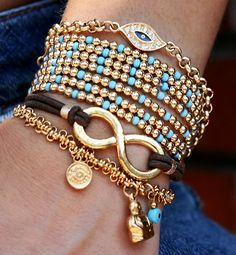Gorgeous Layered Gold Bangles and Bracelets diy-jewelry-inspiration