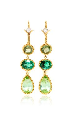Handmade Green, Chrome & Mint Sapphire Earrings With 18K Yellow Vine And White Diamond Vine Ear Wires by Dean Harris (=)