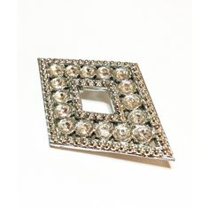 Art Deco Pave Brooch, Diamond Rhomboid Shaped Brooch, Clear... ($15) ❤ liked on Polyvore featuring jewelry and brooches