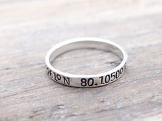 Latitude & Longitude Hand Stamped Sterling Silver Stacking Ring. Personalized GPS Coordinates, Thin Silver Ring, Memorial Jewelry