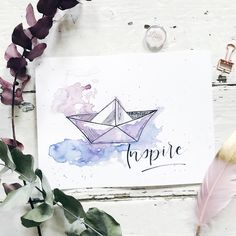 Aquarell meets Handlettering - New Ideas Pencil Sketch Drawing, Drawing Base, Drawing For Kids, Pencil Drawings, Drawing Ideas, Easy People Drawings, Easy Drawings, Drawing People, Drawings With Meaning