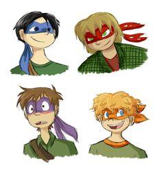 Human Turtles - I love these designs! They're so cute! Ninja Turtles 2014, Teenage Mutant Ninja Turtles, Tmnt Human, Cartoon Fan, Tmnt 2012, Anime Guys, Pokemon, Fictional Characters, Fan Art