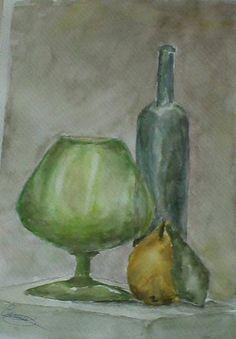 Copa, botella y fruta