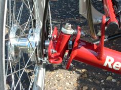 Close-up of the steering kingpin assembly on the Roller recumbent trike