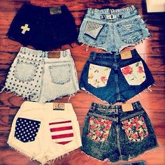 who has two thumbs and is gonna go to Goodwill today to pick out some pants for some new DIY shorts? I absolutely love the black shorts with the white cross! and the flag one! Shorts Diy, Cute Shorts, Denim Shorts, Short Shorts, Studded Shorts, Pocket Shorts, Cutoffs, Studded Nails, Black Shorts