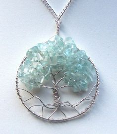 Aquamarine gemstone and Sterling Silver Tree of by mandalarain, Etsy