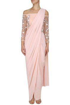 BHAAVYA BHATNAGAR Blush Drape Saree, Pants and Off Shoulder Blouse Set.#bhaavyabhatnagar #perniaspopupshop #happyshopping #shopnow #floralembroidery #drapesaree #traditional #indiandesigner #ethnic #festive