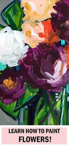 This is the absolute easiest way to paint flowers with acrylic paint. Artist Elle Byers will teach you her fail proof techniques. Her video tutorials … Easy Flower Painting, Acrylic Painting Flowers, Simple Acrylic Paintings, Acrylic Painting Techniques, Acrylic Painting Canvas, Paint Flowers, Flower Paintings, Painting Flowers Tutorial, Painting Process