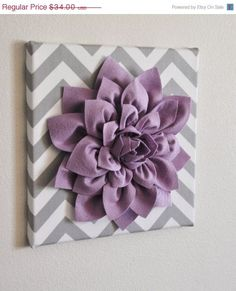 "MOTHERS DAY SALE Wall Flower -Lilac Dahlia on Gray and White Chevron 12 x12"" Canvas Wall Art- Baby Nursery Wall Decor-"