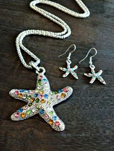 Gorgeous Multi Colored Crystal Starfish Jewelry Set F/S
