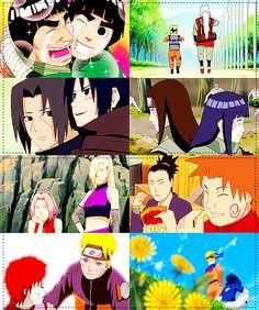 1.Lee & Guy-Sensei                          2.Naruto & Jiraiya-Sensei                          3.Itachi & Sasuke                                     4.Neji & Hinata                                         5.Sakura & Ino                             6.Shikamaru & Choji                       7.Naruto & Gaara                                    8.Naruto & Sasuke