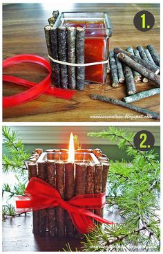 Rustic Christmas Candle...For this project You Will Need: 1. Candle & Glass Holder* 2. Small Sticks & Twigs* 3. Pair Of Pruners* 4. Rubber Band* 5. Ribbon*...Click On Picture For Directions...