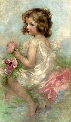 """""""The Young Flower Girl"""" . by Ferenc Innocent 1859 – 1934 Hungarian Vintage Pictures, Art Pictures, Illustration Art, Illustrations, Wow Art, Victorian Art, Paintings I Love, Beautiful Paintings, Art World"""