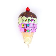 Throwing an Ice Cream Birthday Party?! Add our jumbo Ice Cream Cone Balloon to your event! DETAILS - 14 inches - Air-fill only - Easy seal - Packaged with instructions - Includes stick and cup - Inclu