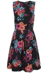 Bright Colour Pop Floral Print Structured Dress