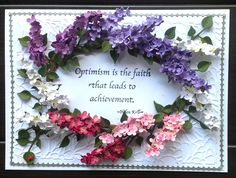Charming card created by Susan Tierney-Cockburn of Susan's Garden Club. Susan creates a wreath using Garden Notes - Lilac in different shades. She's used the wreath to frame a Seeds of Thought stamp - Optimism is the faith. She embossed the card base with Swirly Curves, and framed the outer edges with Peel-Off Stickers - Borders. Find the supplies here: http://www.elizabethcraftdesigns.com/collections/susans-garden