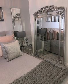 Luxury Home Interior .Luxury Home Interior Glam Bedroom, Bedroom Decor, Bedroom Mirrors, Bedroom Ideas Pinterest, Grey Bedroom With Pop Of Color, Cute Room Decor, Suites, Dream Rooms, My New Room