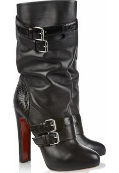 Get the must-have boots of this season! These Christian Louboutin Black Loubi Bike 140 Leather Python 095 Boots/Booties Size EU (Approx. Estilo Fashion, Look Fashion, Fashion Boots, Luxury Fashion, Cheap Fashion, Sexy Boots, Black Boots, Cute Shoes, Me Too Shoes