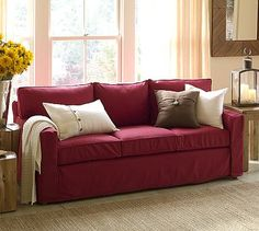 Not red but this is what i was thinking for the family room pb square
