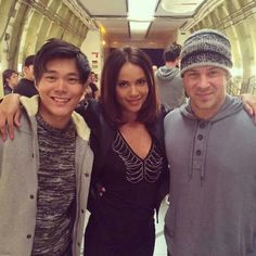 John Kim, Lesley-Ann Brant and Christian Kane on the set of The Librarians-Screencap from The Librarians 2014-Added by Lesley-Ann Brandt's FB page