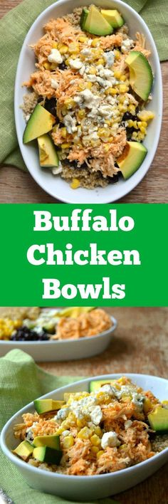 Buffalo Chicken Bowls - delicious, healthy, and such a simple dinner! These bowls are so easy to make and loaded with good for you protein, fats and carbs