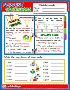 PRESENT CONTINUOUS - STUDY WORKSHEET + EXERCISES (AFFIRMATIVE)