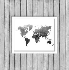 Grey printable world map distressed vintage texture map print black watercolor world map continents wall art by paperbloomshop gumiabroncs Images