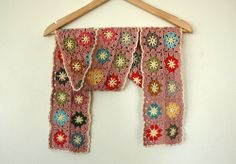 Crochet flower scarf in lovely colours. Made by AnnieDesign.